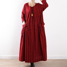Maxi Dress womens - Loose Fitting Maxi Dress womens, round collar long dress, Red maxi dress