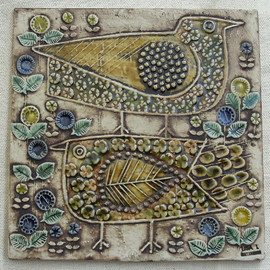 LISA LARSON (GUSTAVSBERG) - TWO BIRDS Vintage Wall Tile