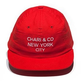 chari&co nyc - SIMPLE TEXT LOGO ADJUSTABLE CAP RED