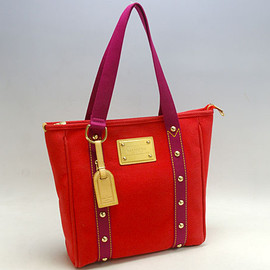 LOUIS VUITTON - Antigua Canvas Cabas MM Tote, RED