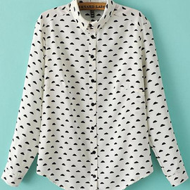romwe - Cloud Print Loose Blouse pictures