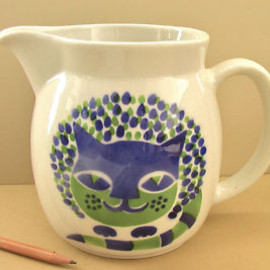 FINEL - Vtg ARABIA Cat Pitcher KAJ FRANCK Ceramic Milk Jug Finland Finnish Finel Modern