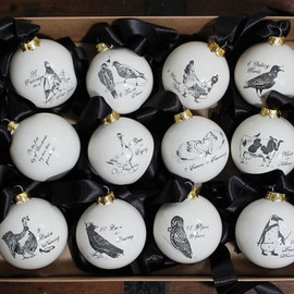 EmilouMakes - Ceramic Christmas Ornament Set of 12 - The Twelve Days Of Christmas