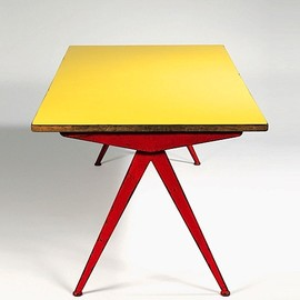 Jean Prouve - red Compass Table, ca 1950