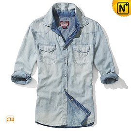 cwmalls - Mens Fitted Denim Shirts Casual Shirt CW114220