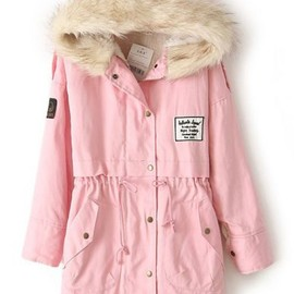 Pink Fur Hooded Zipper Embellished Fleece Inside Military Coat pictures