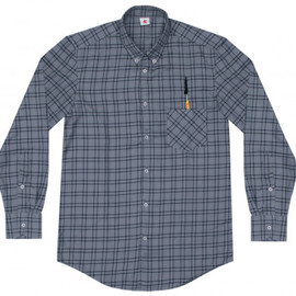 ADAM KIMMEL - Adam Kimmel Special Button Collar Shirt Plaid (Grey/Navy)