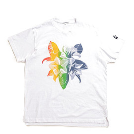 ENGINEERED GARMENTS - Printed Cross Crew Neck T Shirt-Floral-White Multi