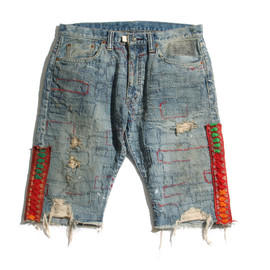 NADA. - Embroidered Denim Shorts