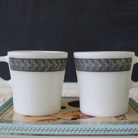 Pyrex - Vintage Pyrex Graphite Autumn Band Mugs // Pyrex Coffee Cups