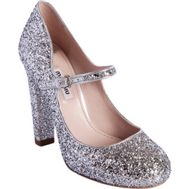 miu miu - Glittered Round Toe Mary Jane