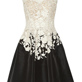 OSCAR DE LA RENTA - Embroidered lace and faille dress