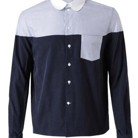 Carven - Carven Corduroy and Striped Cotton Shirt in Blue for Men (navy white)