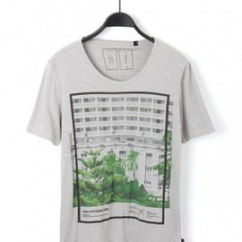 MofM(manofmoods) - GRAPHIC T-SHIRT BUILDING&GREEN_GRY