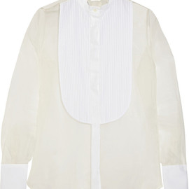 VALENTINO - Cotton poplin-paneled silk-organza shirt