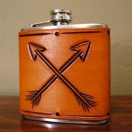 TACTILE CRAFTWORKS - Arrow Tooled Leather & Stainless Steel Flask