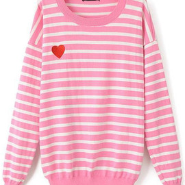 romwe - Heart Print Striped Pink Sweater pictures