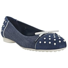 TOD'S - Tod's denim and suede 'Dew Ballerina' flats