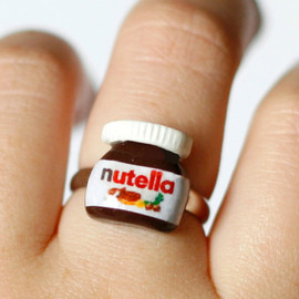 Nutella ring - Polymer clay miniature kawaii tiny chocolate jar