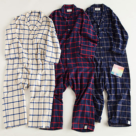 "NOWHAW - ""day one"" pajama #white×blue / #navy×red / #navy×gray ウィンドウペンチェック/パジャマ"