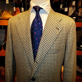 Kiton - green houndstooth cashmere and linen jacket