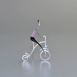 kiss the frog studio - silver, enamel, antique bicycle, old time, vintage