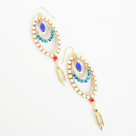 Ostara - Dangling Oval Earrings/ Swarovski Chain