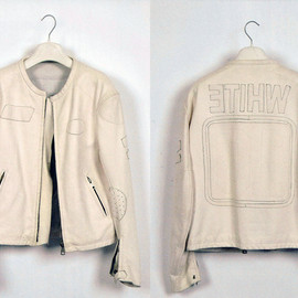 Maison Martin Margiela 10 - White leather jacket with plain applique logos.