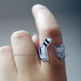 GREENMOT - Cute Wrap-around Cat Ring