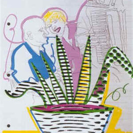 Sigmar Polke - Betriebsfest, silkscreen in several colours on Schoellershammer board, 50 x 70 cm., edition of  70, signed, dated and numbered, 1998
