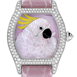 Cartier - Tortue Cartier d 'Art Cockatoo #WG-Diamonds / WG-Pink MOP-Enamel / Leather Strap)