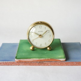 bayard - bayard / alarm clock / brass & pale blue / france