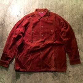 Pennleigh - Open Collar Corduroy Shirt/1960`s Vintage