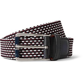 Berluti - Leather-Trimmed Woven Cotton Belt