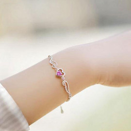 fashion - Image of [grzxy61200010]Angel's Wing Love Heart Chain Bracelet Gift