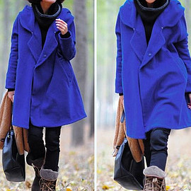 etsy - Blue Hoodie Wool cape winter coat