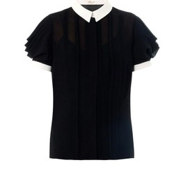 SAINT LAURENT - Drape sleeve bi-colour blouse