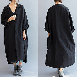 dress - Linen dress in Gray, Loose pockets dress, Maxi linen dress black