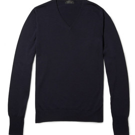 John Smedley - Navy Merino Wool V-neck Sweater