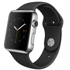 Apple - WATCH  42mm Stainless Steel Case with Black Sport Band