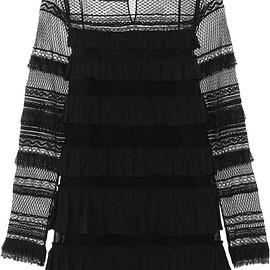 Isabel Marant - Trevor ruffled silk-georgette and lace turtleneck mini dress