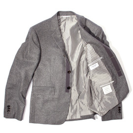 THOM BROWNE - Flannel Blazer With Gray Grosgrain Detail
