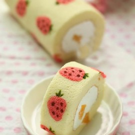 Strawberry roll cake. looks cute and deliciate