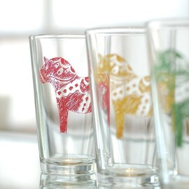 vital - Dala Horse, screen printed glassware, multi color, set of 4 pint glasses