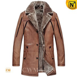 Cwmalls - Mens Winter Shearling Car Coat CW857016 - cwmalls.com