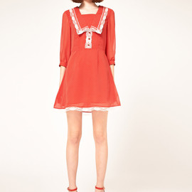 Nishe - Chiffon Spot Dress with Lace Trim