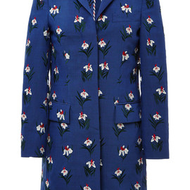 THOM BROWNE - Resort2015 Chesterfield Overcoat In Med Blue Mohair With White Tulip Super Pose