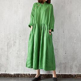 dress - maxi dress in green, pockets Dress, Casual Dresses, Long sleeve dress, solid color dress