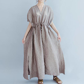 Oversize dress - Women Oversize dress Linen waist drawstring dress Leisure maxi dress In coffee color/ blue