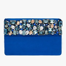 PRADA - Flat satin clutch with shoulder strap and stone embellishment